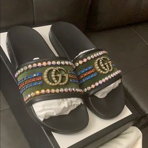 09eb54f1481e Gucci Shoes - Gucci velvet slide sandals with crystals